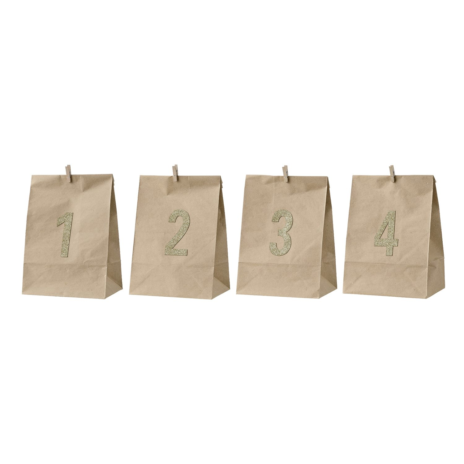 Advent papperspåse 4-pack, natur