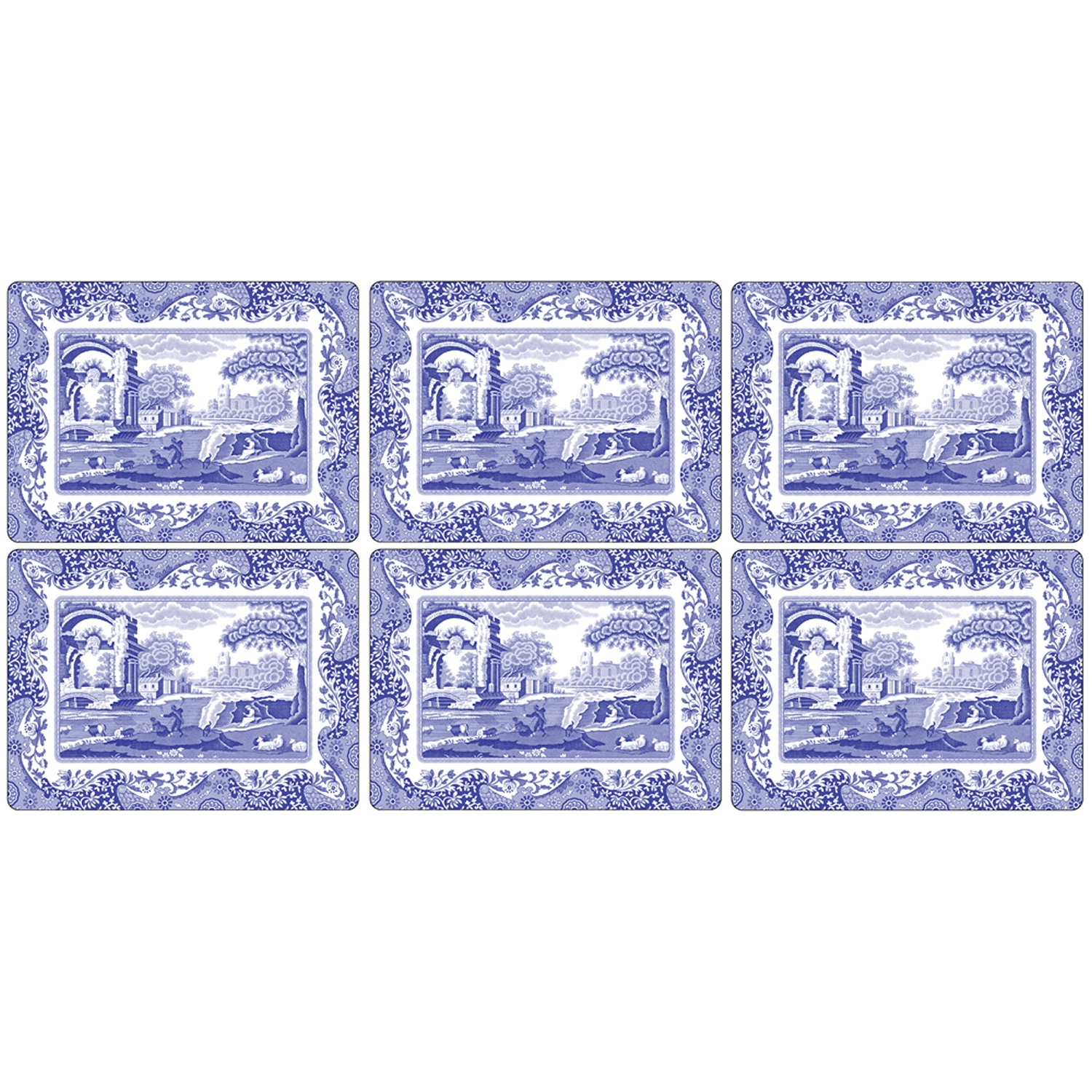Blue Italian bordstablett 30x23, 6-pack
