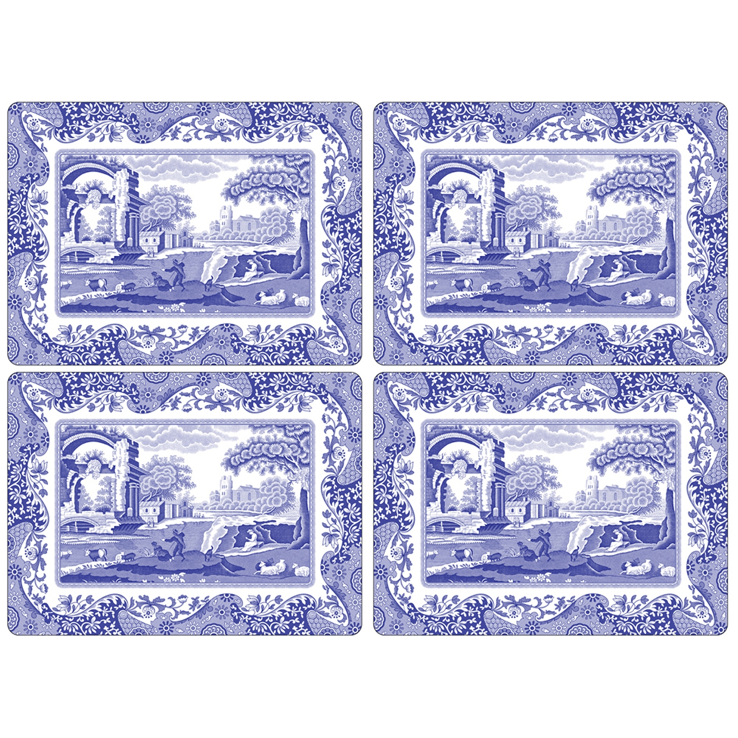 Blue Italian bordstablett 40x29, 4-pack