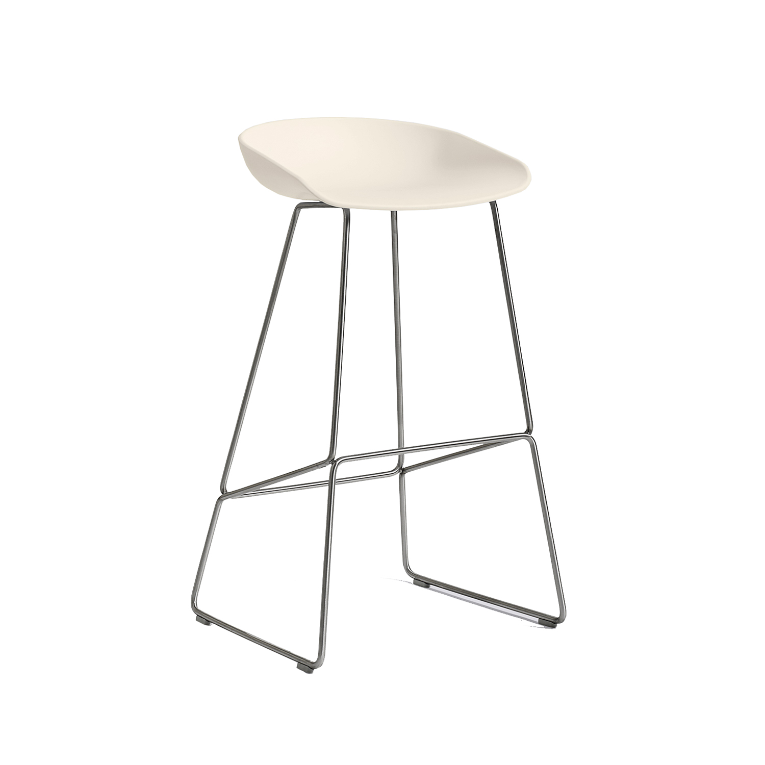 About a Stool 38 barstol h75, cream white/rostfritt