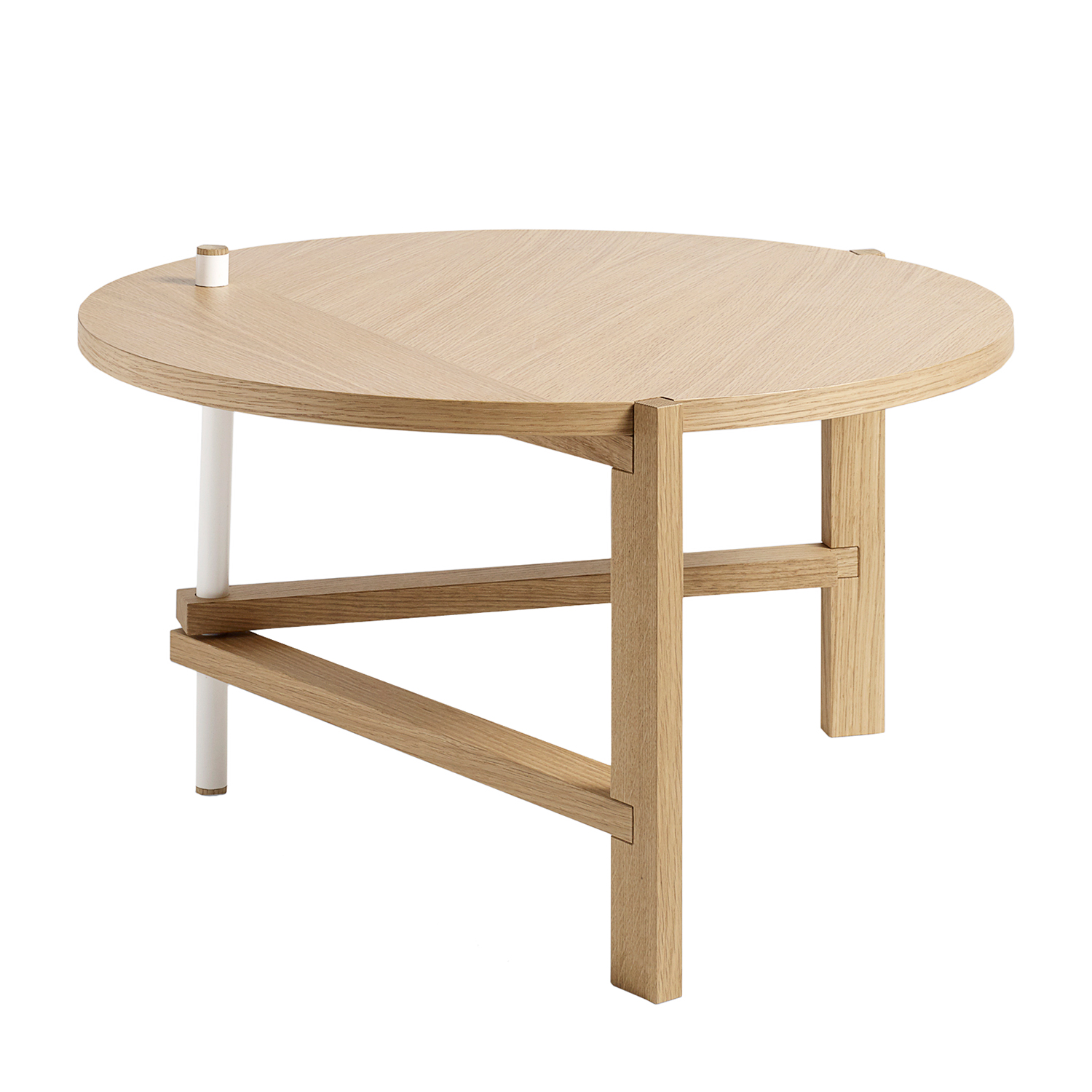 A side table Ø70, ek/vit