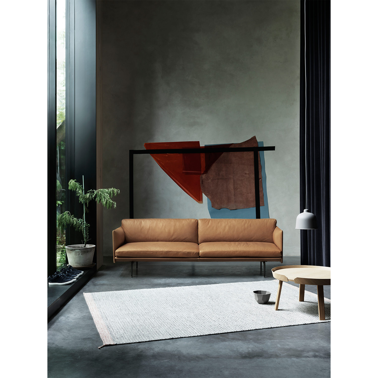 Outline 3-sits soffa, silk leather/svart