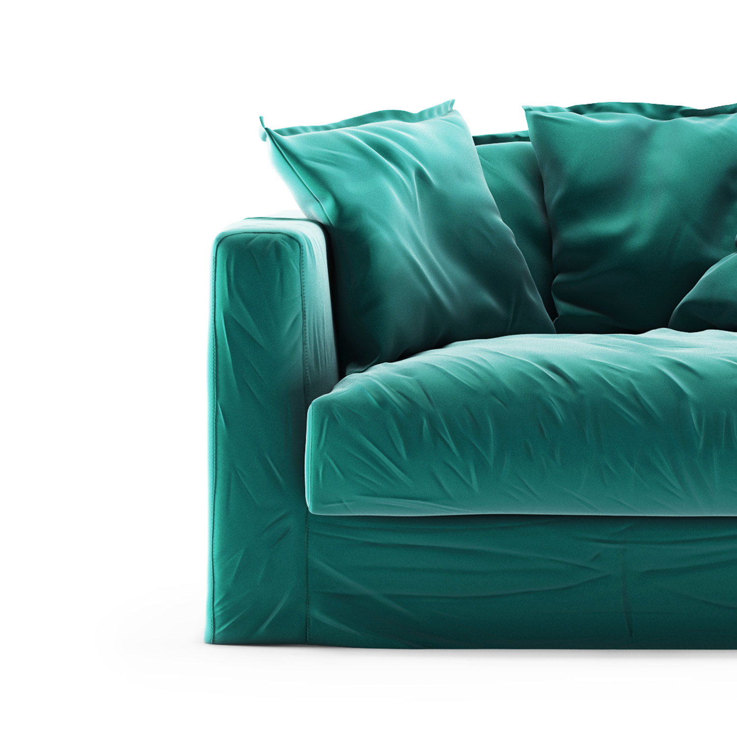 Le Grand Air Loveseat sammet klädsel, Azure