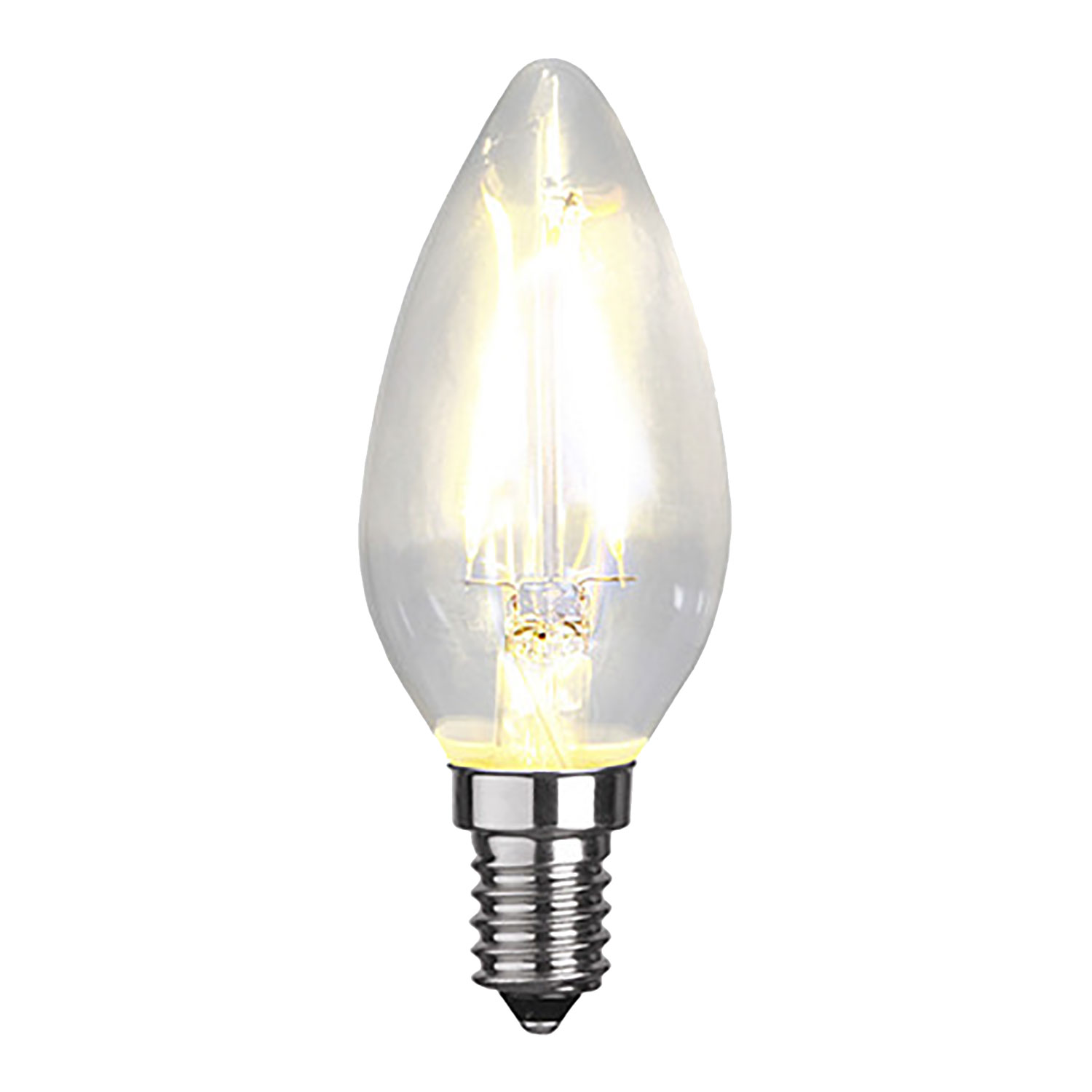 LED-lampa E14 C35 filament, transparent