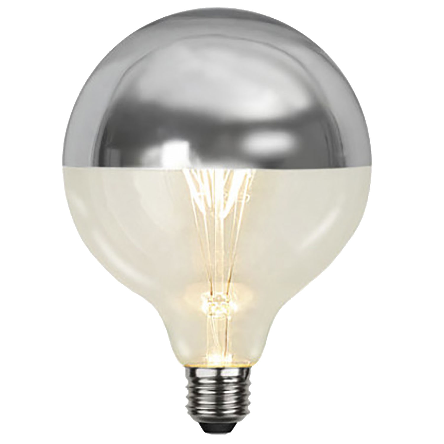 LED-lampa E27 G125 top coated filament, silver