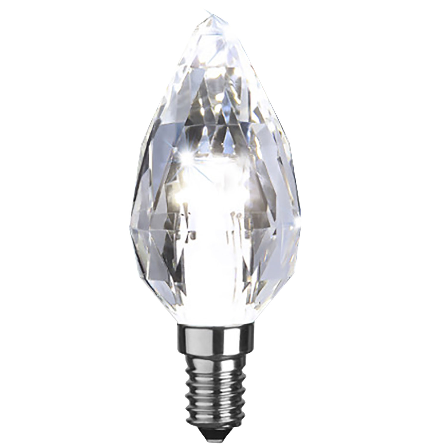LED-lampa E14 C35 diamond, transparent