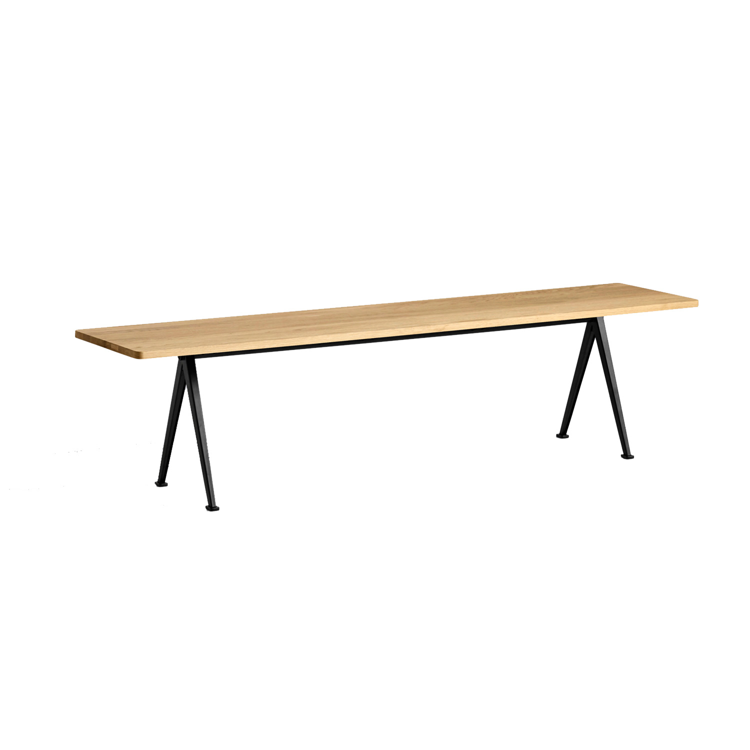 Pyramid bench 12 190x40, black frame/clear