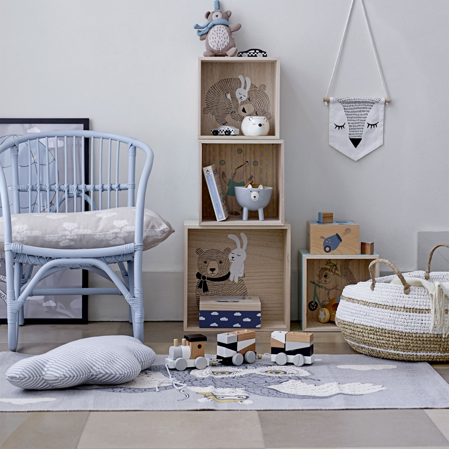 Hot Air Balloon Friends poster 50x70, grå