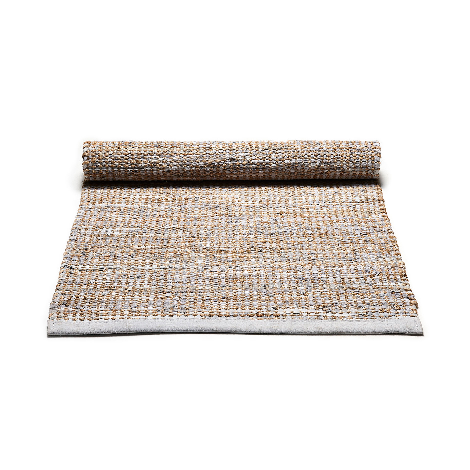 Jute/Leather matta 65x135, smooth grey
