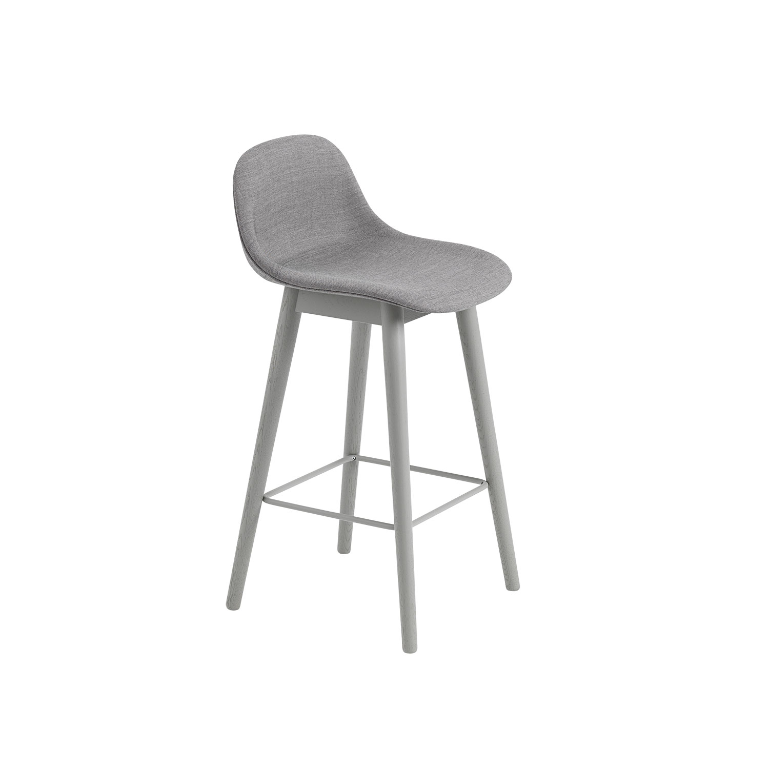 Fiber Wood bar stool w.back, grå/remix133