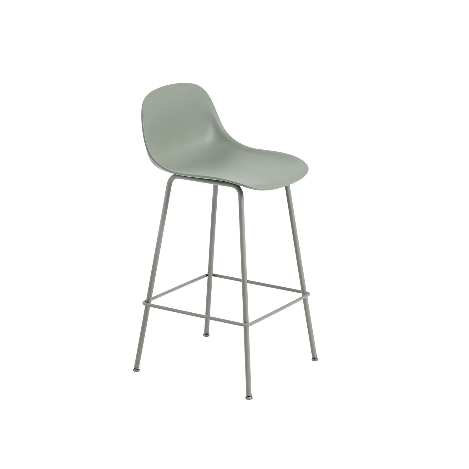 Fiber Tube bar stool w.back, dusty green