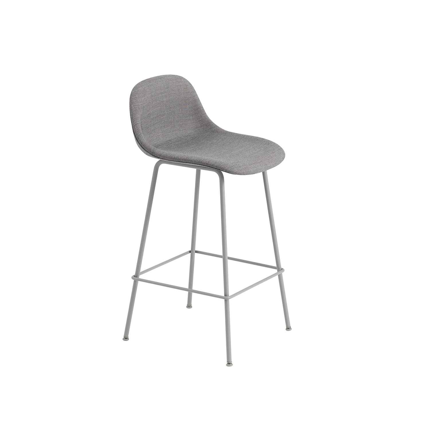 Fiber Tube bar stool w.back, grå/remix133