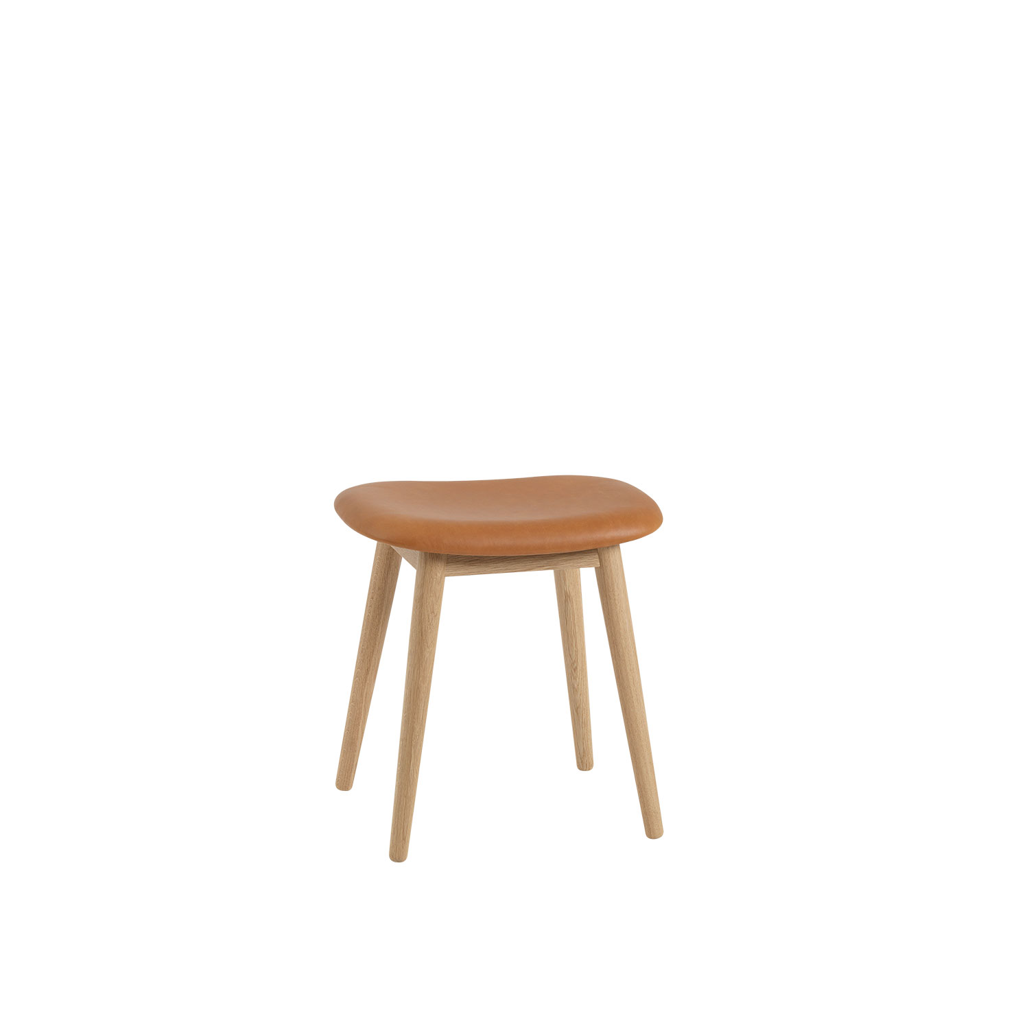 Fiber Wood stool base, konjak läder/ek