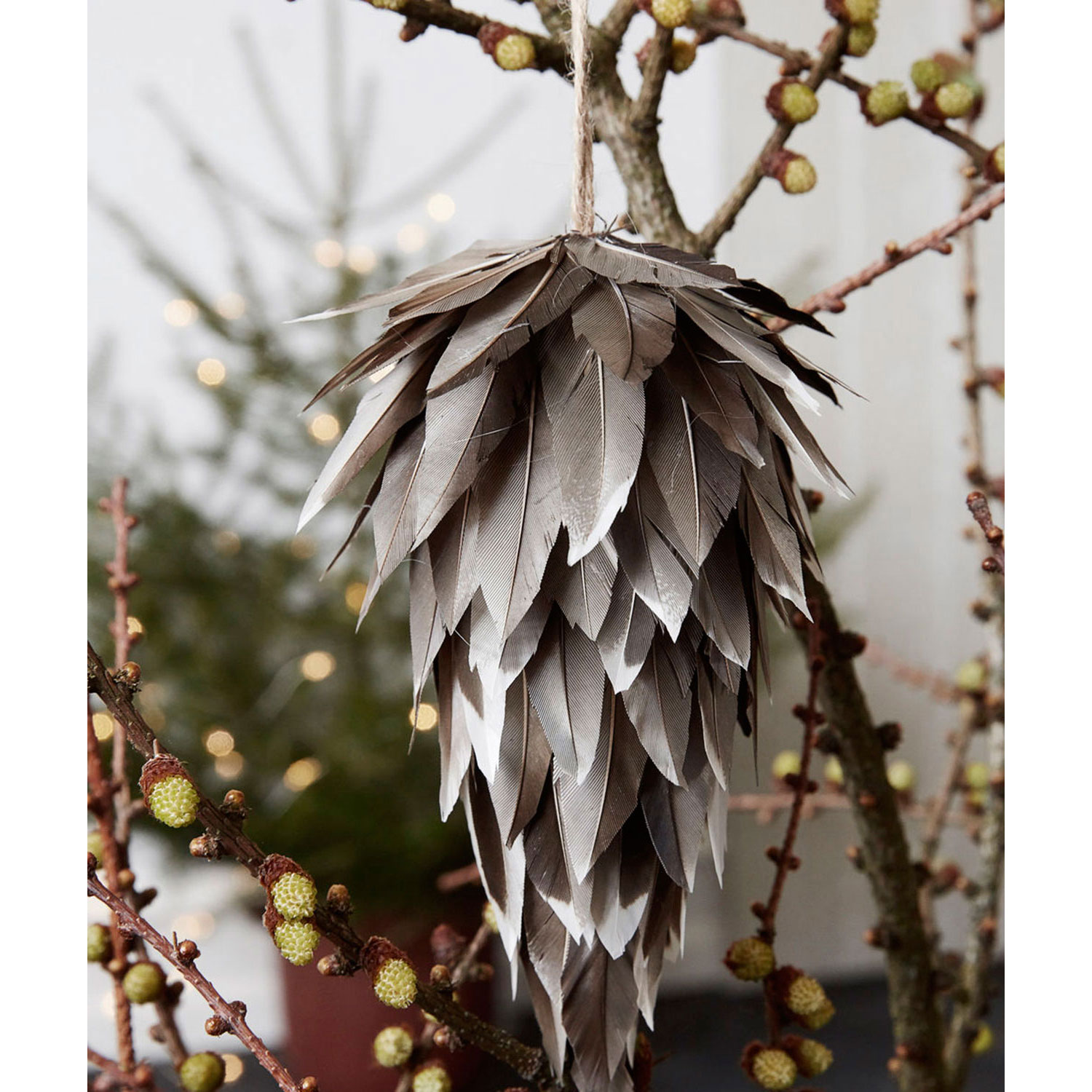 Feather juldekoration cone 15 cm