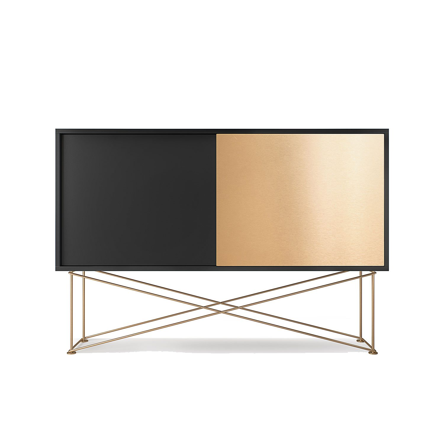 Vogue sideboard 136h, antracit/1A1B/mässing