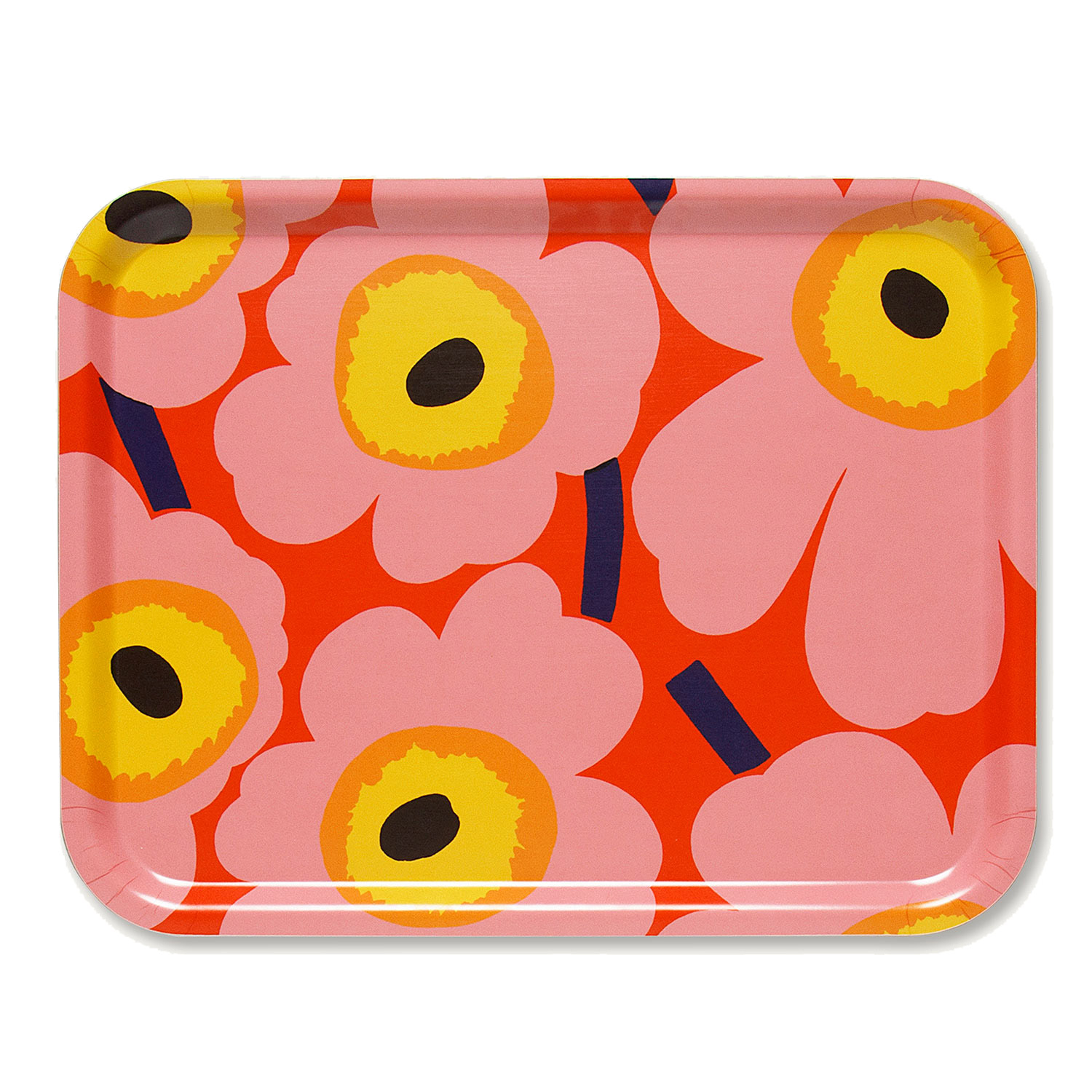 Pieni Unikko bricka 43x33, orange/rosa