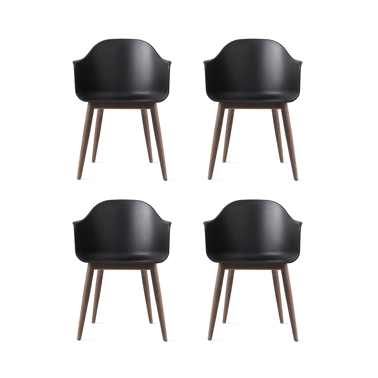 Harbour Chair 4-pack, svart/mörk ek