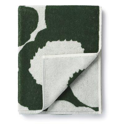 Unikko handduk 50x100, vit/grön