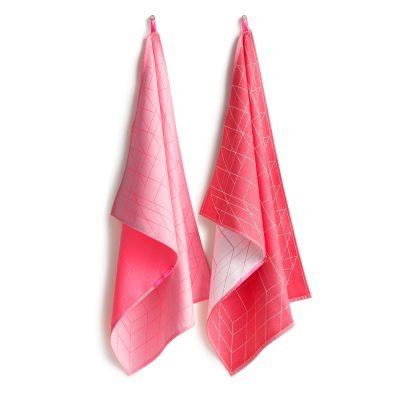 Tea Towel Box handduk 2-pack röd/rosa