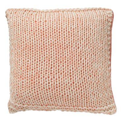 Knitted kudde, rosa/vit