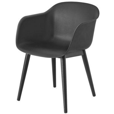 Fiber Wood stol svart