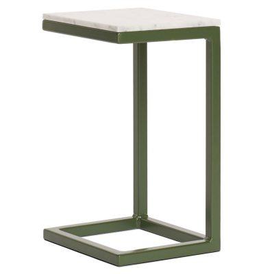Rör sängbord, marmor/grön
