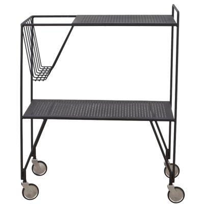 Use sidobord med hjul, svart
