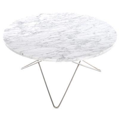 O soffbord, vit marmor/stål