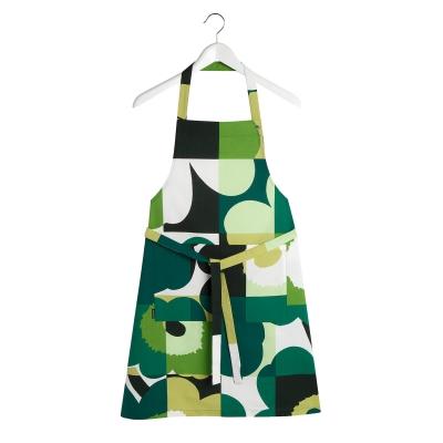 Ruutu-Unikko förkläde, mörkgrön/grön/vit