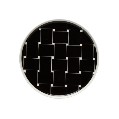 Basket tallrik svart/vit