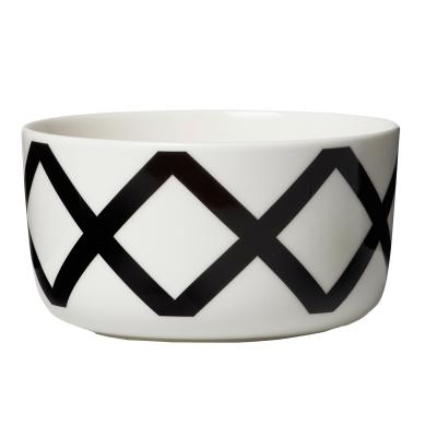 Spalj skål, vit/mörkgrå