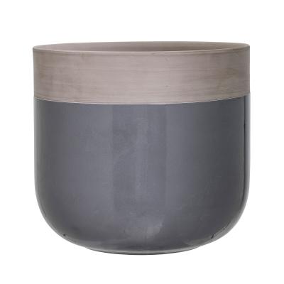 Bild av Terracotta blomkruka L, mörkgrå/grå