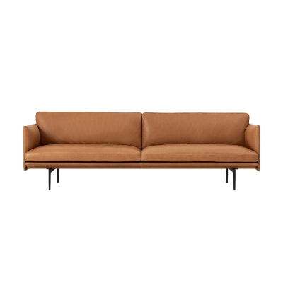 Outline 3-sits soffa, silk leather/cognac thumbnail