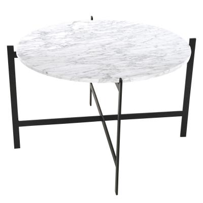 Deck Large bord, vit marmor/svart