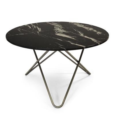 Big O bord, svart marmor/stål