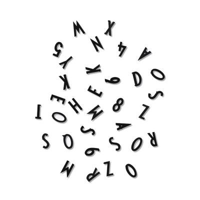 Bild av AJ bokstäver & siffror, svart
