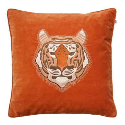 Embroidered Tiger Velvet kuddfodral M, orange thumbnail