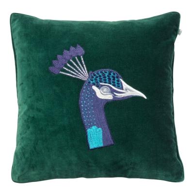 Embroidered Peacock Velvet kuddfodral M, grön thumbnail