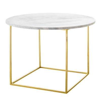 Eva soffbord, vit marmor/guld