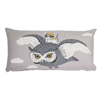 Owl & Mouse kudde 30x60, grå