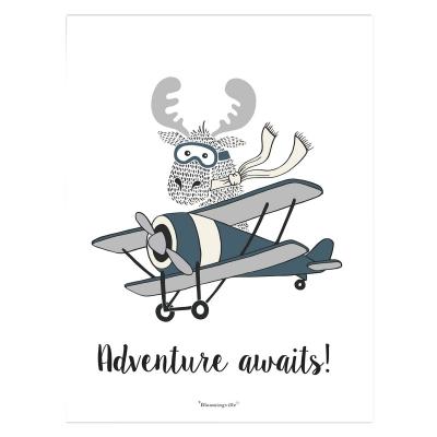 Moose in a Plane poster 30x40, grå