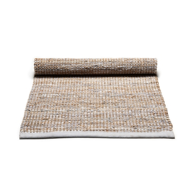 Jute/Leather matta 65x135, smooth grey i gruppen Mattor / Mattor / Läder hos RUM21.se (1033486)