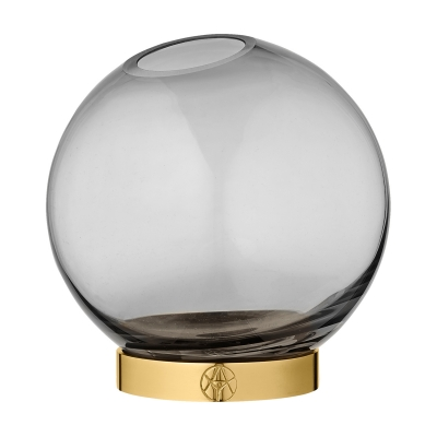 Globe vas M, svart/mässing