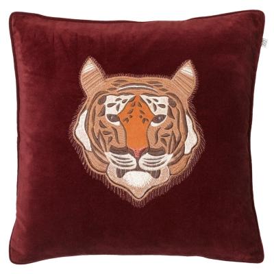 Embroidered Tiger Velvet kuddfodral M, ruby thumbnail