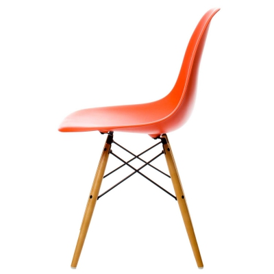 Eames Chair, DSW träben, poppy red