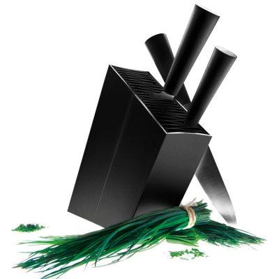 Knivblock svart lutande