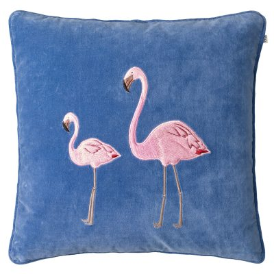 Embroidered Flamingo Velvet M, riviera blue
