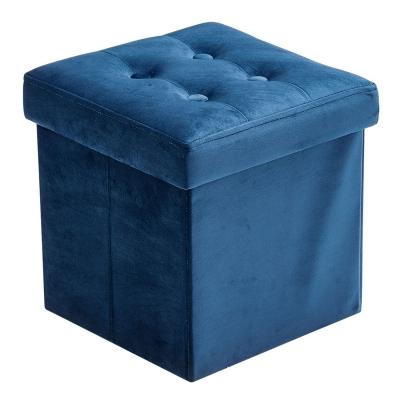 Sittpuff m förvaring sammet, blå