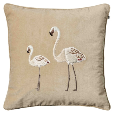 Embroidered Flamingo kuddfodral 50x50, beige