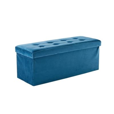 Sittpuff lång sammet, blå